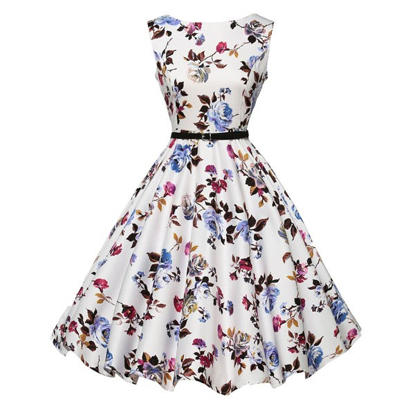 Women 1950s Floral Sleeveless Swing Vintage Retro Party Picnic Dress CF1201 purple flower