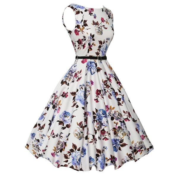 Women 1950s Floral Sleeveless Swing Vintage Retro Party Picnic Dress CF1201 purple flower_01