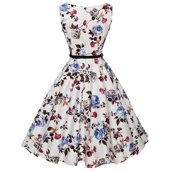 Women 1950s Floral Sleeveless Swing Vintage Retro Party Picnic Dress CF1201 purple flower_03