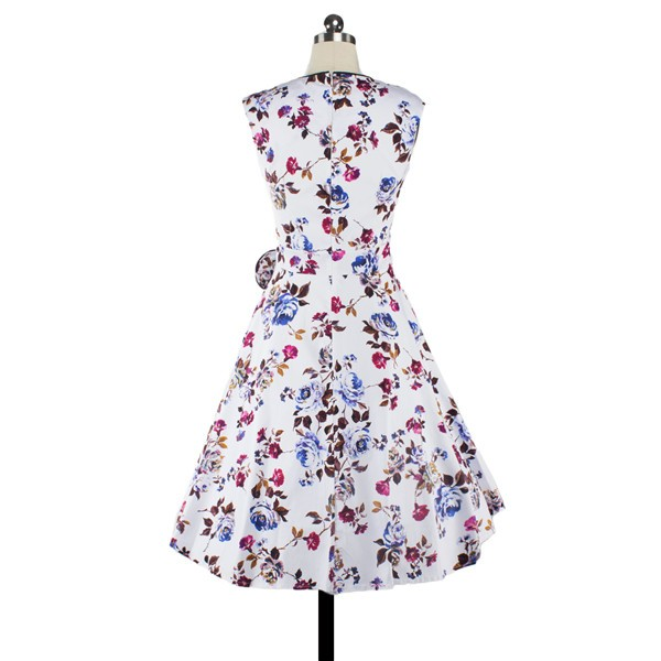 Women 1950s Floral Swing Vintage Cap Sleeve Casual Retro Party Dress CF1205 purple red flower_02