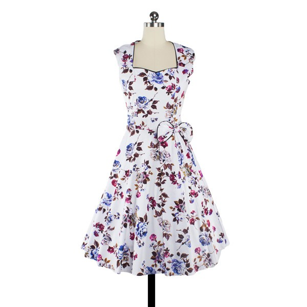 Women 1950s Floral Swing Vintage Cap Sleeve Casual Retro Party Dress CF1205 purple red flower