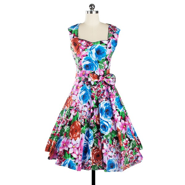 Women 1950s Floral Swing Vintage Retro Housewife Rockabilly Evening Dress CF1209 multi