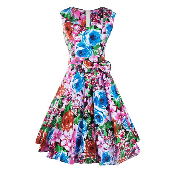 Women 1950s Floral Swing Vintage Retro Housewife Rockabilly Evening Dress CF1209 multi_01