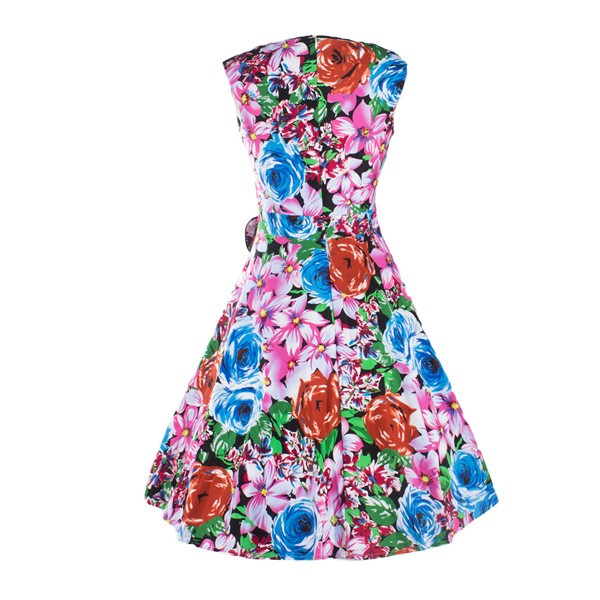Women 1950s Floral Swing Vintage Retro Housewife Rockabilly Evening Dress CF1209 multi_02