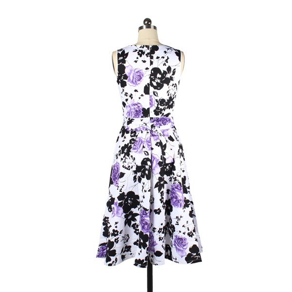 Women 1950s Floral Swing Vintage Retro Housewife Rockabilly Evening Dress purple flower_01