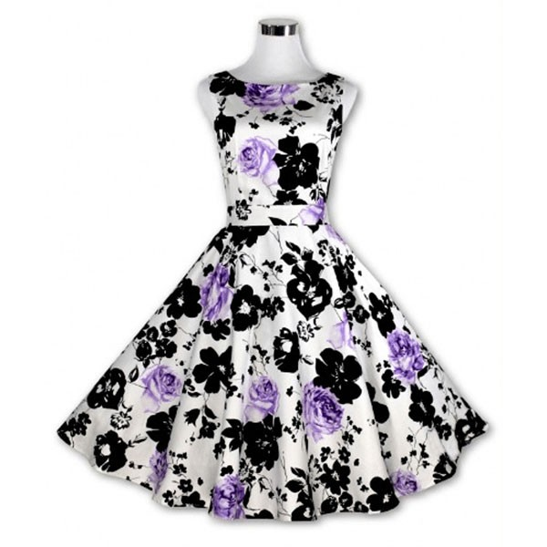 Women 1950s Floral Swing Vintage Retro Housewife Rockabilly Evening Dress purple flower_02