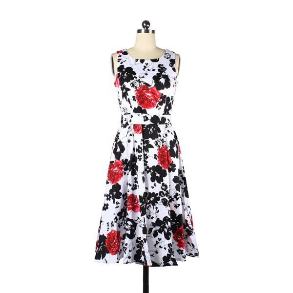 Women 1950s Floral Swing Vintage Retro Housewife Rockabilly Evening Dress red flower