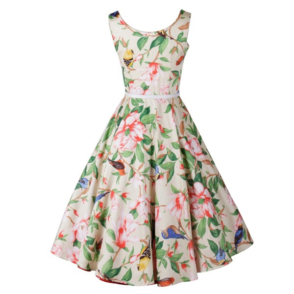 Women 1950s Floral Swing Vintage Retro Spring Garden Picnic Dress CF1202 red flower_04