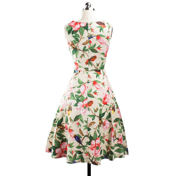 Women 1950s Floral Swing Vintage Retro Spring Garden Picnic Dress CF1202 red flower_01
