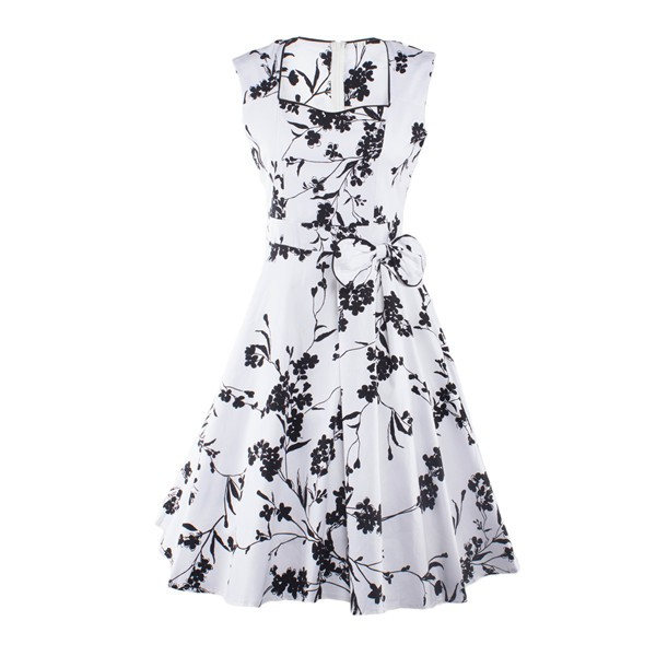 Women 1950s Floral  Swing Vintage Rockabilly Garden Party Tea Dress CF1204 black white _01