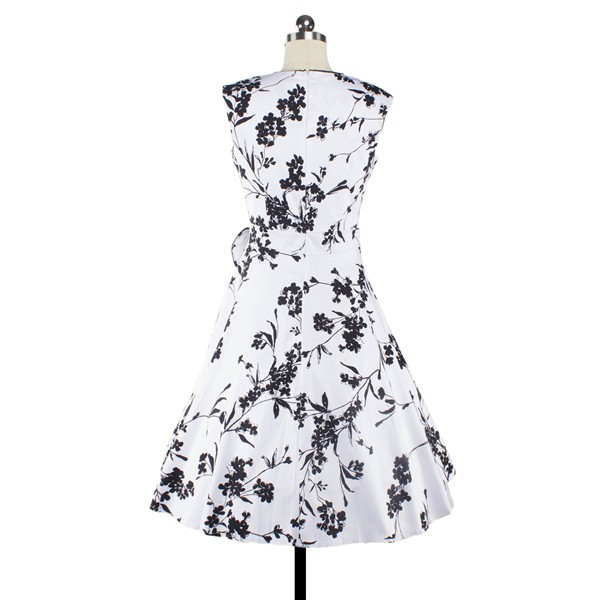 Women 1950s Floral  Swing Vintage Rockabilly Garden Party Tea Dress CF1204 black white _02
