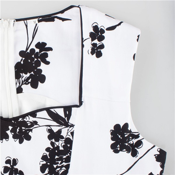 Women 1950s Floral  Swing Vintage Rockabilly Garden Party Tea Dress CF1204 black white _04