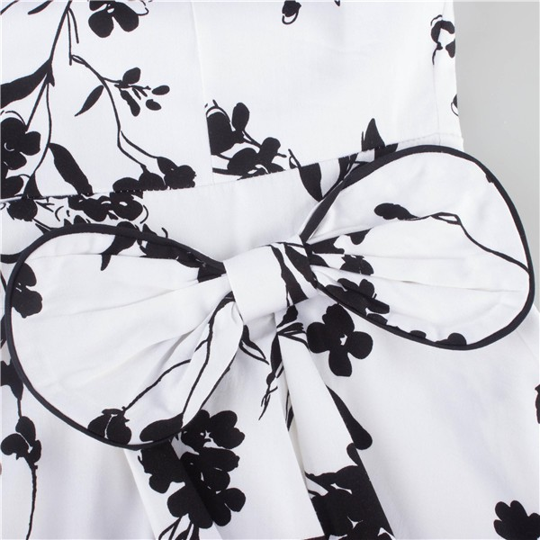 Women 1950s Floral  Swing Vintage Rockabilly Garden Party Tea Dress CF1204 black white _05