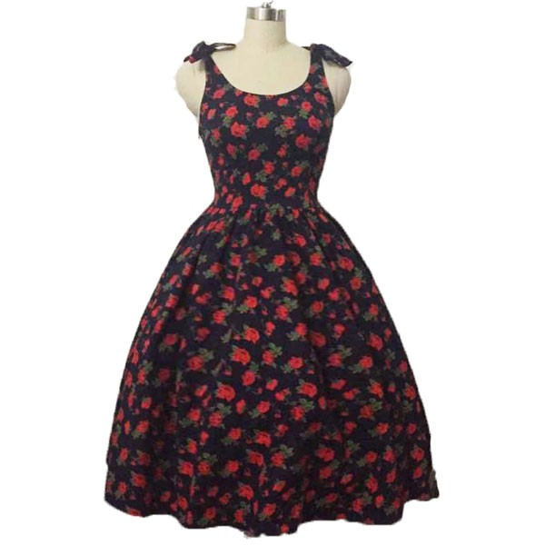 Women 1950s Hater Dots Floral Rockabillty Sleeveless Cocktail Picnic Dress CF1420 red black floral