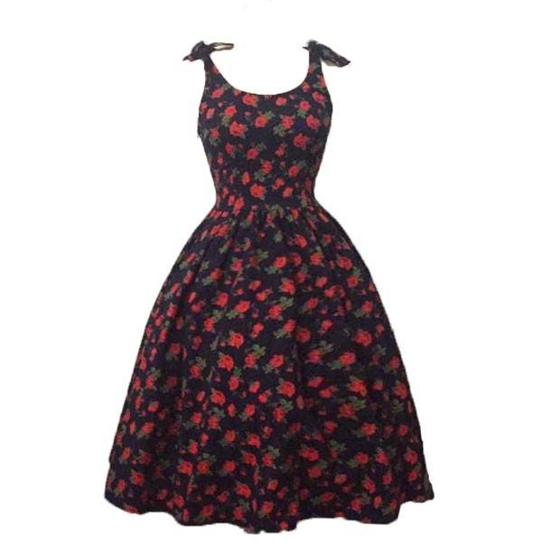 Women 1950s Hater Dots Floral Rockabillty Sleeveless Cocktail Picnic Dress CF1420 red black floral_02