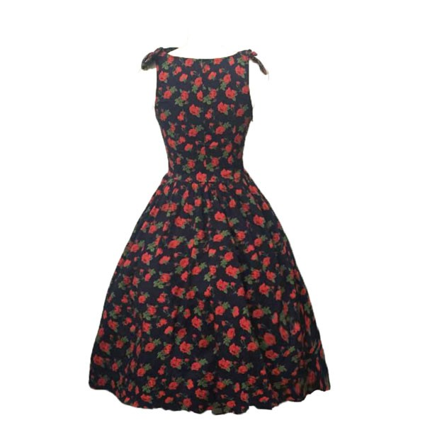 Women 1950s Hater Dots Floral Rockabillty Sleeveless Cocktail Picnic Dress CF1420 red black floral_01