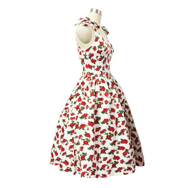 Women 1950s Hater Dots Floral Rockabillty Sleeveless Cocktail Picnic Dress CF1420 red white floral_01