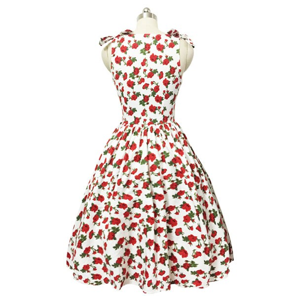 Women 1950s Hater Dots Floral Rockabillty Sleeveless Cocktail Picnic Dress CF1420 red white floral_02