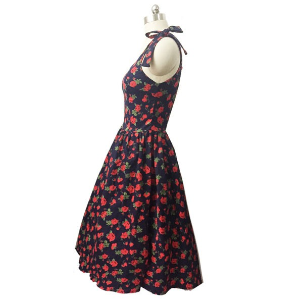 Women 1950s Hater Dots Floral Rockabillty Sleeveless Cocktail Picnic Dress CF1420 red black floral_03