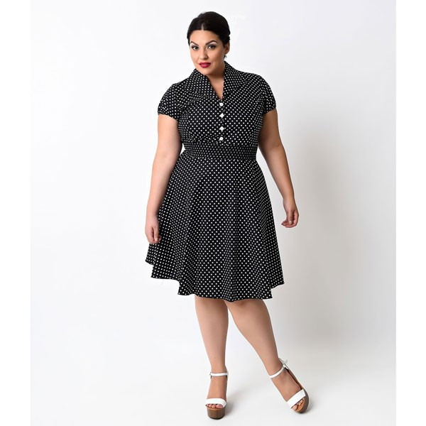 Women 1950s Retro Vintage Short Sleev Party Plus Size Dress CF1355 black_03
