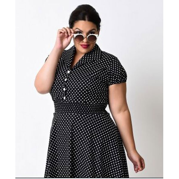 Women 1950s Retro Vintage Short Sleev Party Plus Size Dress CF1355 black_04
