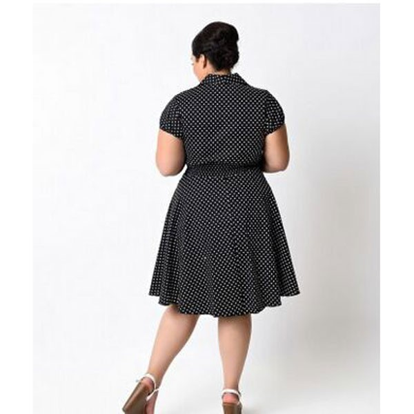 Women 1950s Retro Vintage Short Sleev Party Plus Size Dress CF1355 black_01