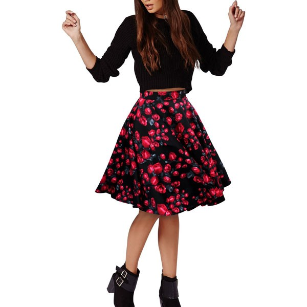 Women 1950s Rockabilly Floral Print Vintage Flared Style A-line Skirt red flower_03