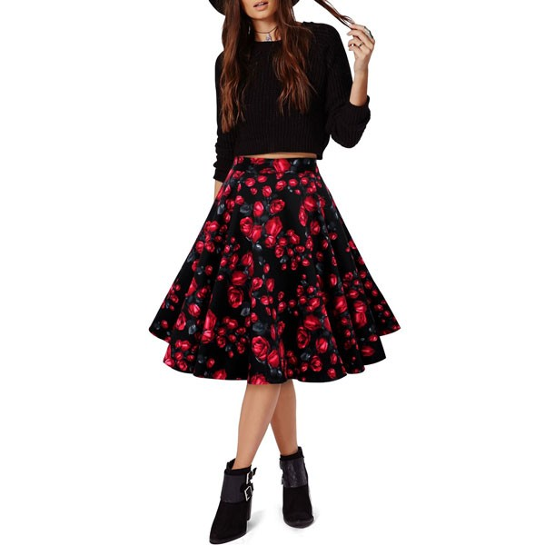 Women 1950s Rockabilly Floral Print Vintage Flared Style A-line Skirt red flower_04