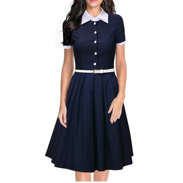 Women 1950s Short Sleeve Collar Ball With Belt Plus Size Dress CF1370 blue_01