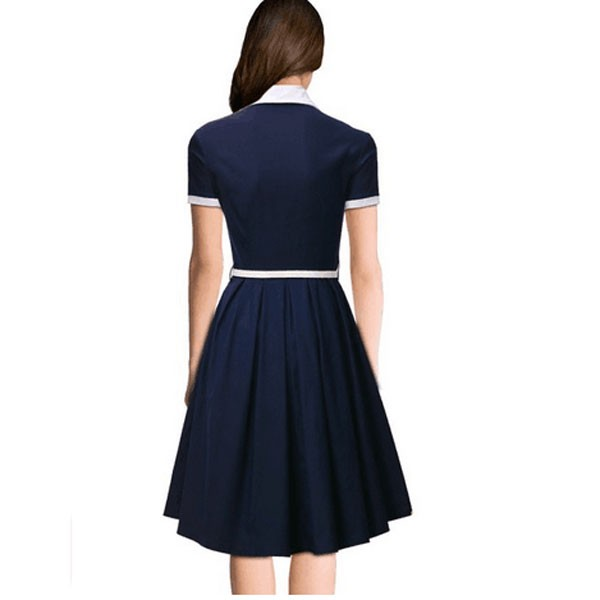 Women 1950s Short Sleeve Collar Ball With Belt Plus Size Dress CF1370 blue_04