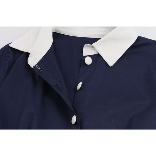 Women 1950s Short Sleeve Collar Ball With Belt Plus Size Dress CF1370 blue_10