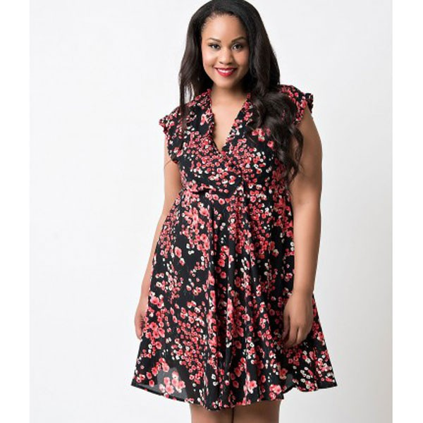 Women 1950s Swing Cap Sleeve Cherry Picnic Plus Size Dress CF1361 red floral_01