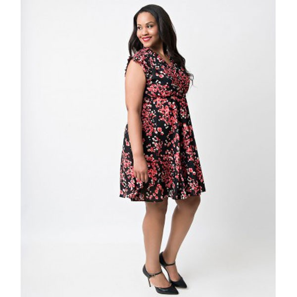 Women 1950s Swing Cap Sleeve Cherry Picnic Plus Size Dress CF1361 red floral_05