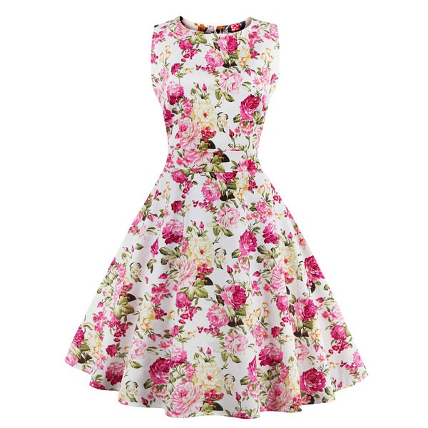 Women 1950s Swing Floral Vintage Sleeveless Garden Plus Size Dress CF1378 pink flower