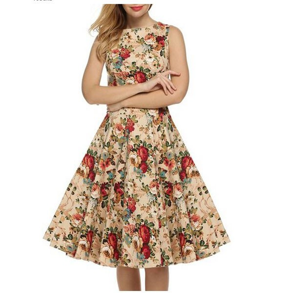 Women 1950s Swing Floral Vintage Sleeveless Pinup With Belt Ball Party Dress CF1425 beige_01