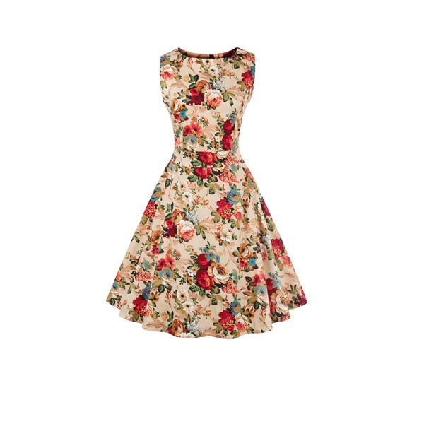 Women 1950s Swing Floral Vintage Sleeveless Pinup With Belt Ball Party Dress CF1425 beige