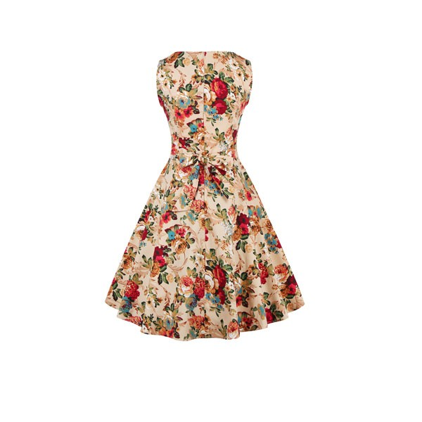 Women 1950s Swing Floral Vintage Sleeveless Pinup With Belt Ball Party Dress CF1425 beige_2