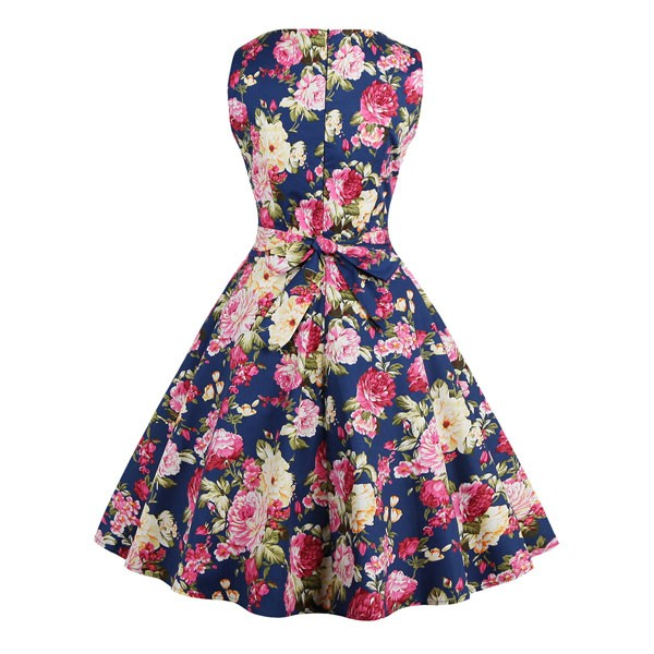 Women 1950s Swing Floral Vintage Sleeveless Pinup With Belt Ball Party Dress CF1425 red blue floral_01