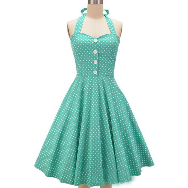 Women 1950s Swing Hater Rockabillty Party Picnic Plus Size Dress CF1374 green
