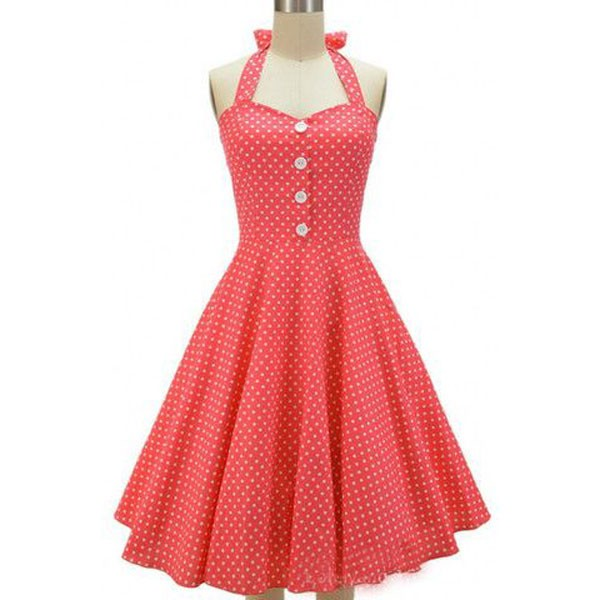 Women 1950s Swing Hater Rockabillty Party Picnic Plus Size Dress CF1374 red