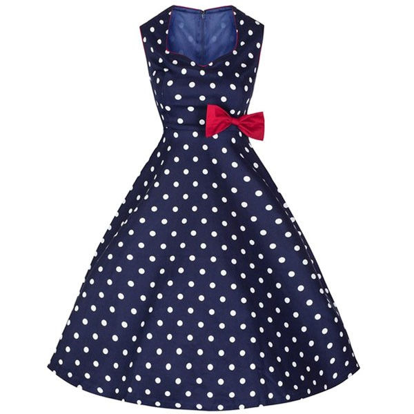Women 1950s Swing Retro Dots Rockabillty Cap Sleeve Cocktail Ball Dress CF1417 blue dots