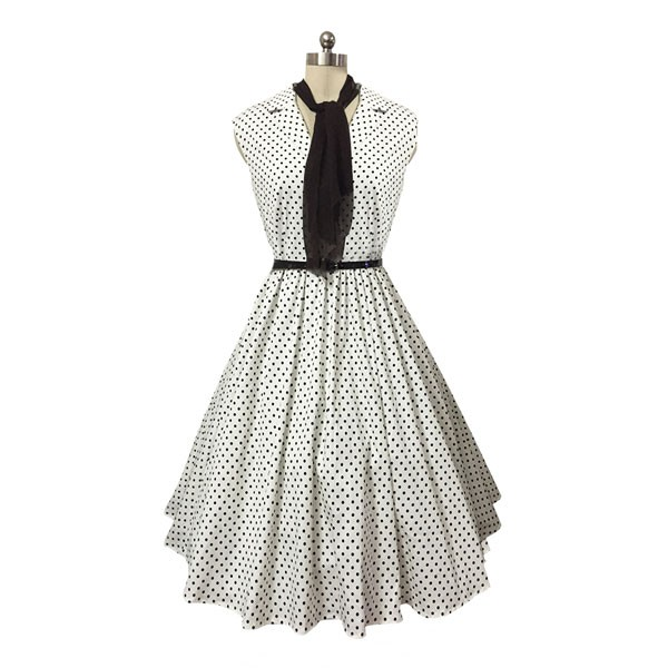 Women 1950s Swing Retro Dots Scarves Cap Sleeve With Belt Picnic Dress CF1419 white dots