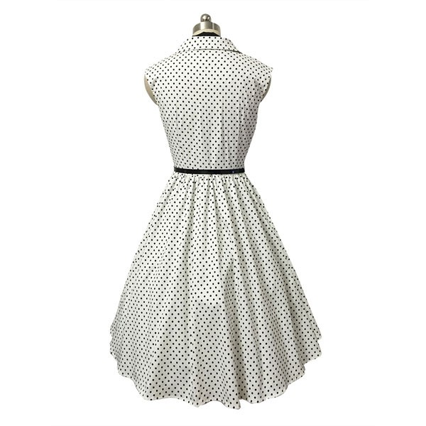 Women 1950s Swing Retro Dots Scarves Cap Sleeve With Belt Picnic Dress CF1419 white dots_01
