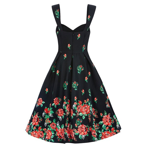 Women 1950s Swing Retro Floral Picnic Party Plus Size Dress CF1366 red floral_01