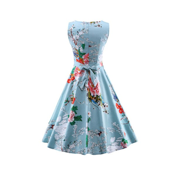 Women 1950s Swing Retro Floral Rockabillty Sleeveless Picnic Dress CF1428 red blue floral_01