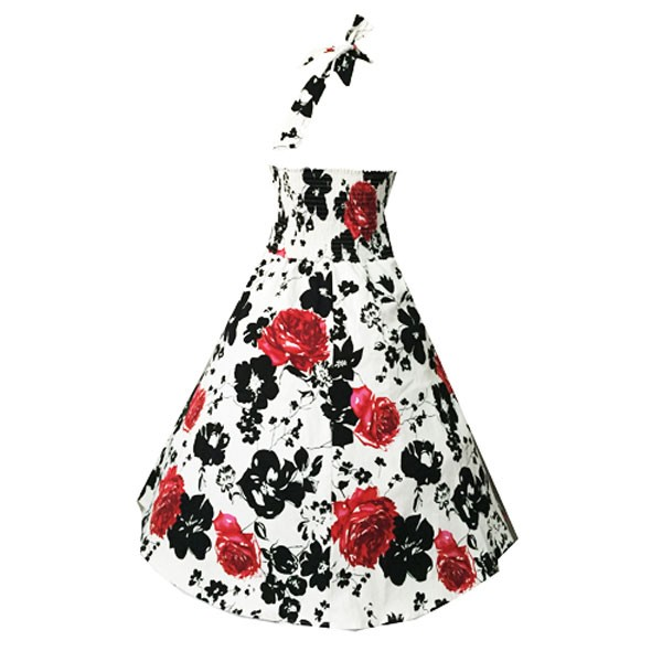 Women 1950s Swing Retro Hater Floral Vintage Tea Ball Dress CF1404 red black floral_01