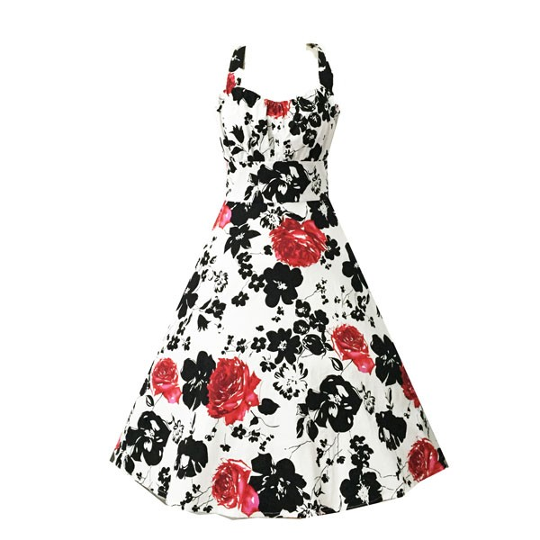 Women 1950s Swing Retro Hater Floral Vintage Tea Ball Dress CF1404 red black floral