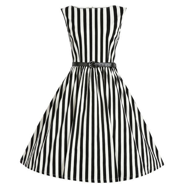 Women 1950s Swing Sleeveless Striped Gown Pinup Plus Size Dress CF1365 black