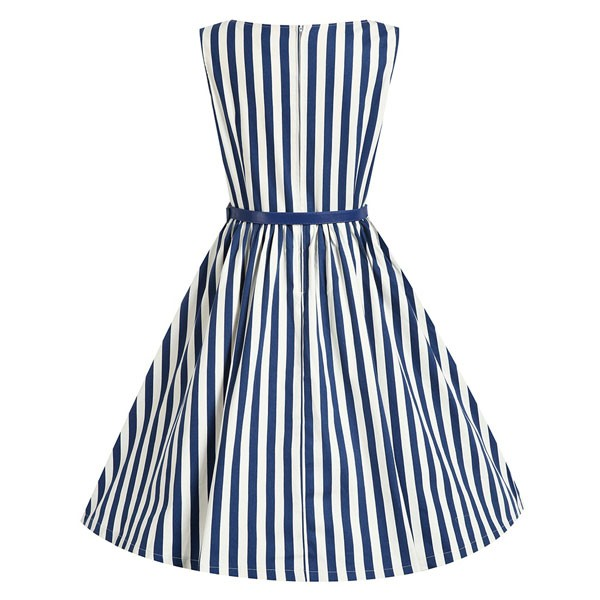 Women 1950s Swing Sleeveless Striped Gown Pinup Plus Size Dress CF1365 blue