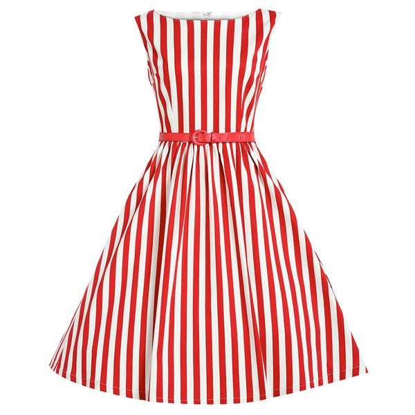 Women 1950s Swing Sleeveless Striped Gown Pinup Plus Size Dress CF1365 red_01